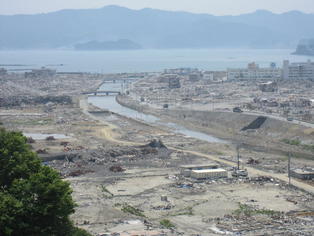 Overview shot of Minamisanriku, northern Honshu, showing the destruction from the 2011 Japan tsunami (Credit Dave Tappin).