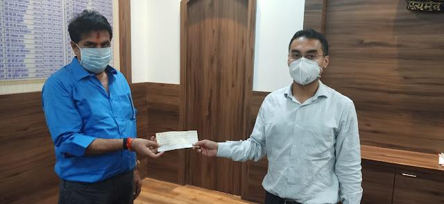 पातावत ने जरूरतमंदों के लिए मुख्यमंत्री सहायता कोष में दिए 11 लाख 21 हजार रुपये