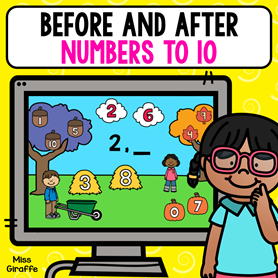 Before and after numbers activities that are digital games for kids to play on a computer or tablet