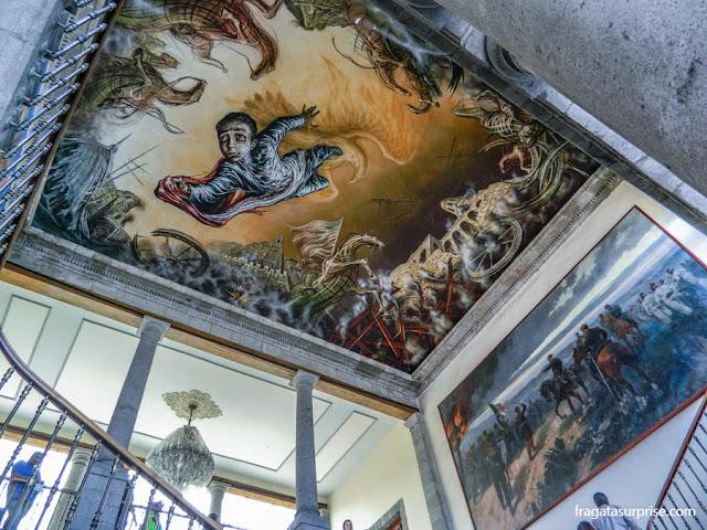"""""""O Sacrifício dos Meninos Heróis"""", mural de Gabriel Flores García no Castelo de Chapultepec, Cidade do México"""