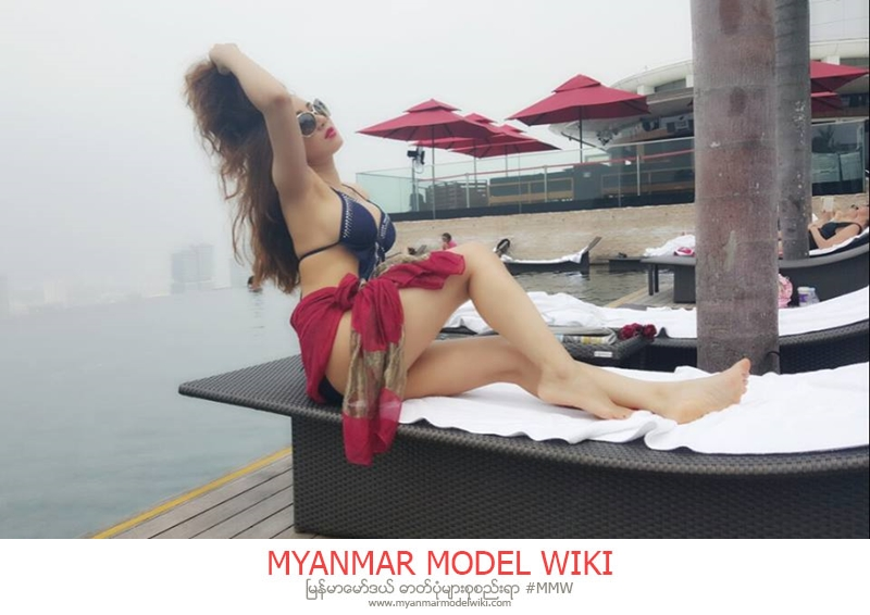 Nang Thiri Maung in Singapore Marina Bay , Swim Suit Fashion , Pokemon TShirt Style Snaps
