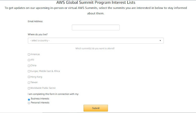 Complete the form to enroll for  AWS Global Summit 2021 Live