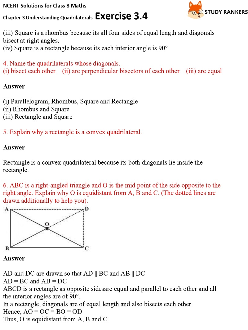 NCERT Solutions for Class 8 Maths Ch 3 Understanding Quadrilaterals Exercise 3.4 2