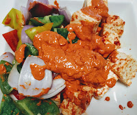 Cubes of paneer and vegetables with Tandoori masala for paneer Tikka