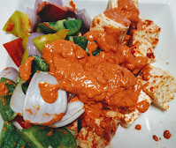 Cubes of paneer and vegetables with Tandoori masala for paneer Tikka