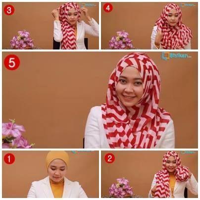 Tutorial cara memakai model hijab pashmina untuk wajah bulat 1