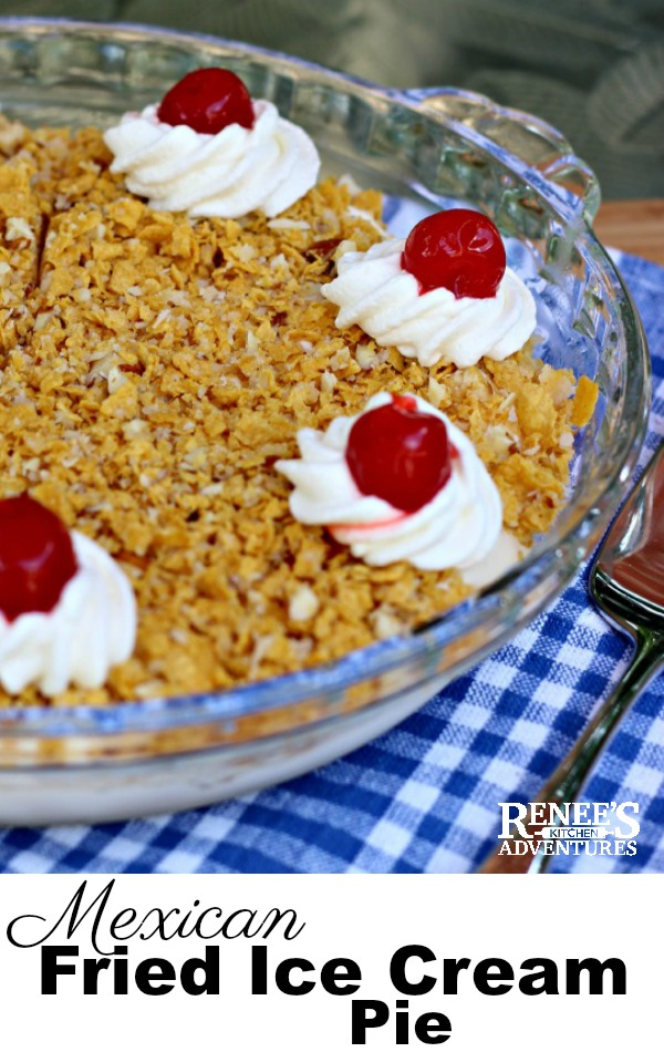 Fried Ice Cream Pie by Renee's Kitchen Adventures - easy dessert recipe for Mexican fried ice cream that tastes just like you get in a Mexican restaurant! Easy to make with cornflake cereal and vanilla ice cream. #cincodemayo #dessert #icecream #mexicanicecream