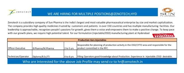 Zenotech (Sun Pharma) | Hiring for Multiple positions in Production at Hyderabad | Send CV