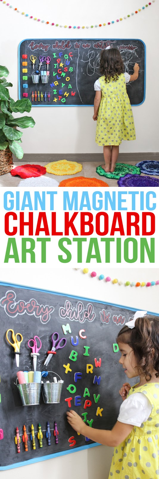 How to create an awesome child's art station. It's a large magnetic chalkboard with attached storage space for art supplies and the whole thing hangs on the wall. It would be the perfect addition to a playroom and is sure to encourage creativity in your budding little artist.