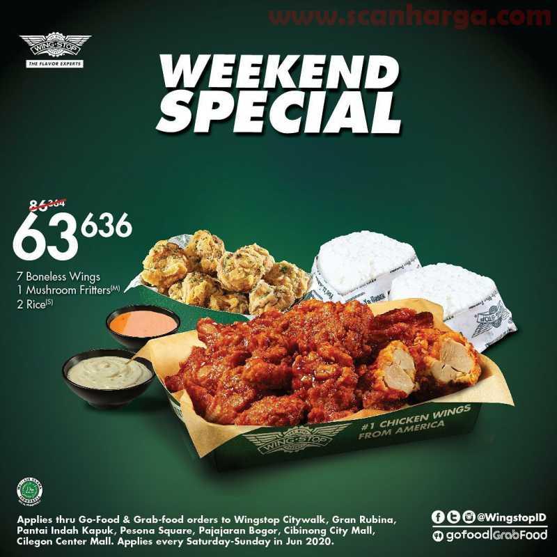 Promo Wingstop Special Weekend Paket 7 Boneless Wings + Mushroom Fritters + 2 Rice harga hanya Rp. 63.636