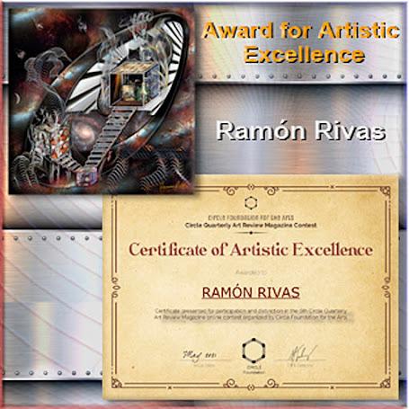 """La Obra """" Experiential Cubes & Jars"""" y el Certificado del  """"Premio a la Excelencia Artística"""" concedido a Ramón Rivas"""