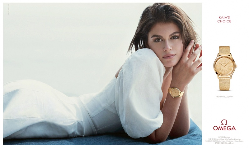 Luxury watch brand Omega taps Kaia Gerber for its Trésor campaign.