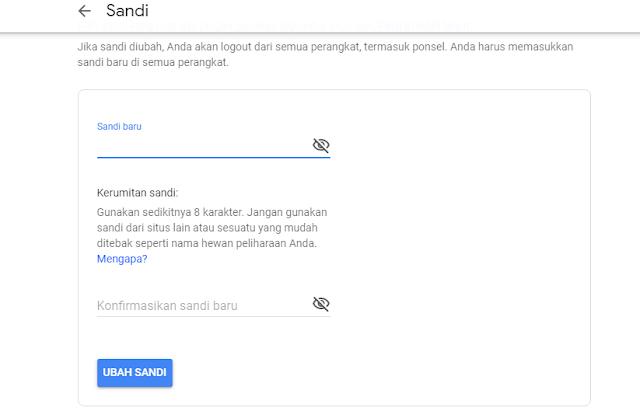 ubah kata sandi gmail