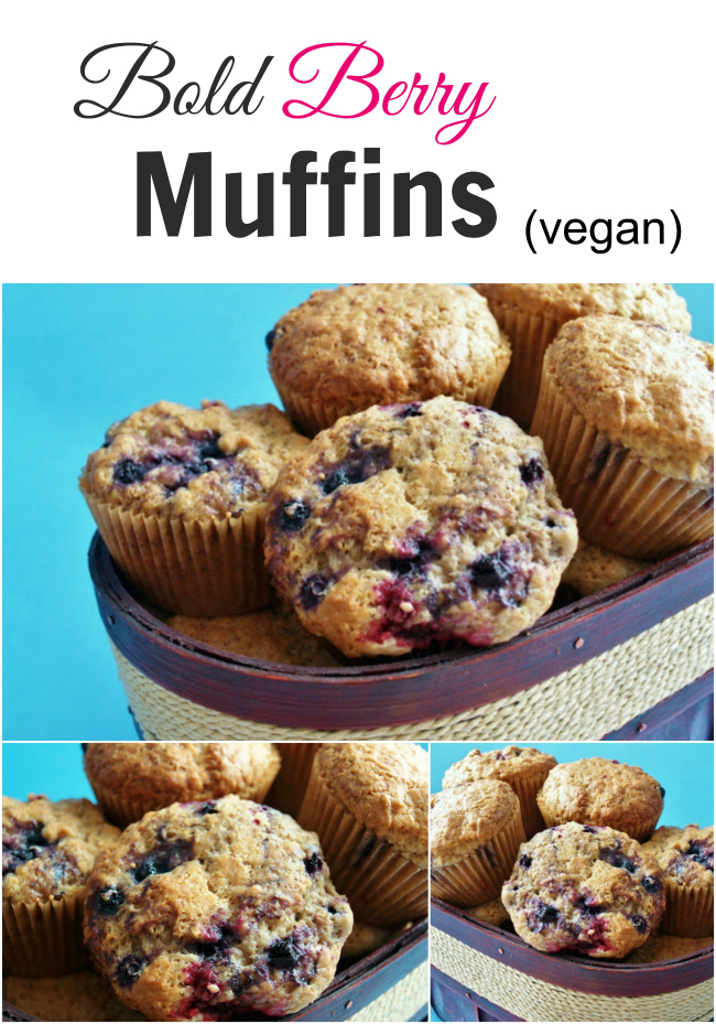 These vegan bold berry muffins are moist and tasty with the benefits of fresh fruit. Use frozen fruit for convenience. A great portable healthy snack for school or office!