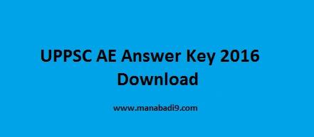 UP AE Answer Key 2016, UPPSC AE Answer Key 2016 Download