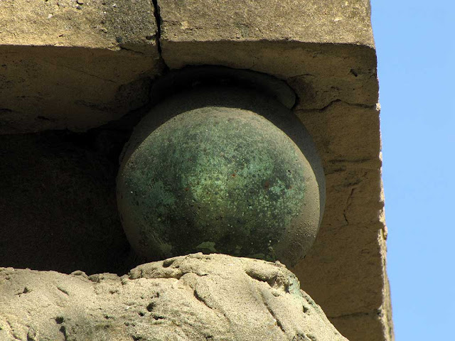Bronze sphere of the obelisk in piazza Mazzini, Livorno