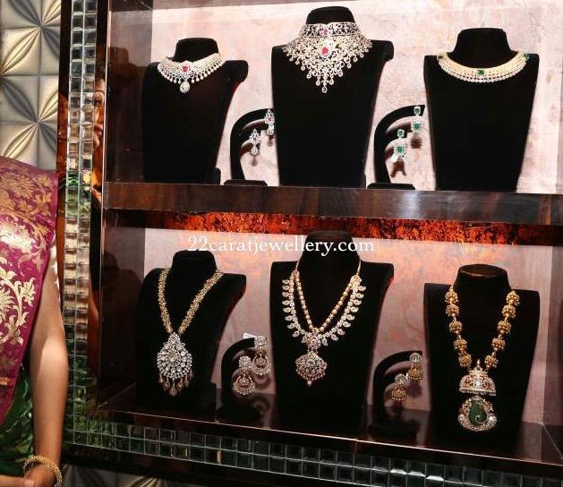 Priyamani Showcasing Flat Diamond Necklaces