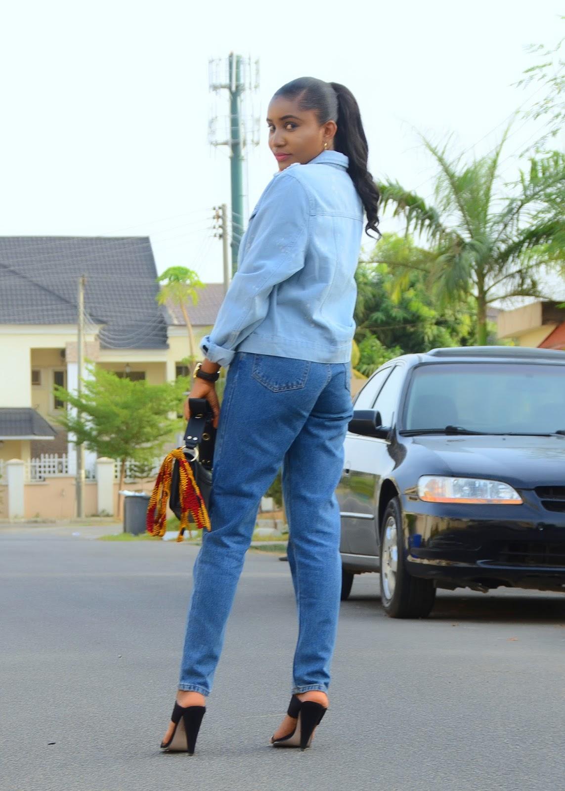 mom jeans, denim jacket, mules