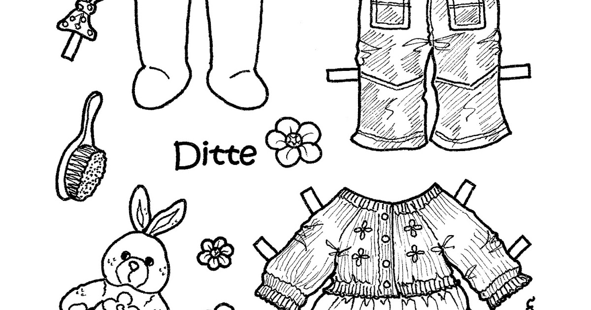 Karen`s Paper Dolls: Ditte 1-5 Paper Doll to Print and