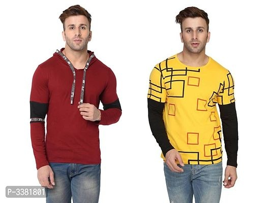 Pack of 2 Multicoloured Cotton Self Pattern T Shirt For Men Online Shopping in India | Buy 1 Get 1 Free Cotton T-shirt For Men Online Shopping | Buy 1 Get 1 Free T-shirt For Men |  Buy 1 Get 1 Free T-shirt Online Shopping | T-shirt For Men Online Shopping in India | Mens T-Shirt Online Shopping | Cotton T-shirt Online Shopping in India | Online Shopping in India |