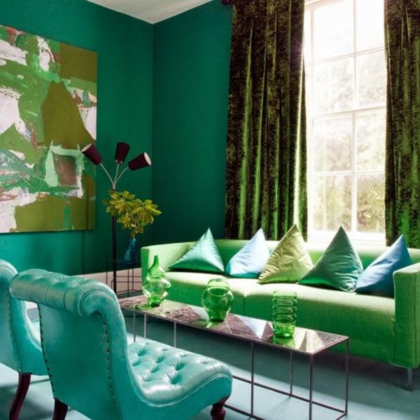 Salas decoradas con verde esmeralda salas con estilo - Paredes verde pistacho ...