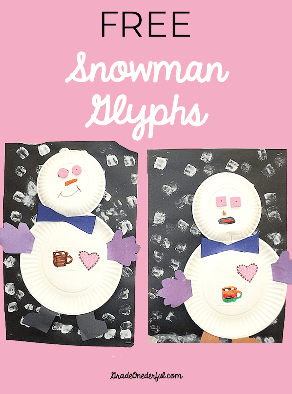 Snowman glyphs in first grade! FREE template.