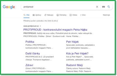 """Vyhledávač Google - vyhledávací výraz """"Protiproud"""""""