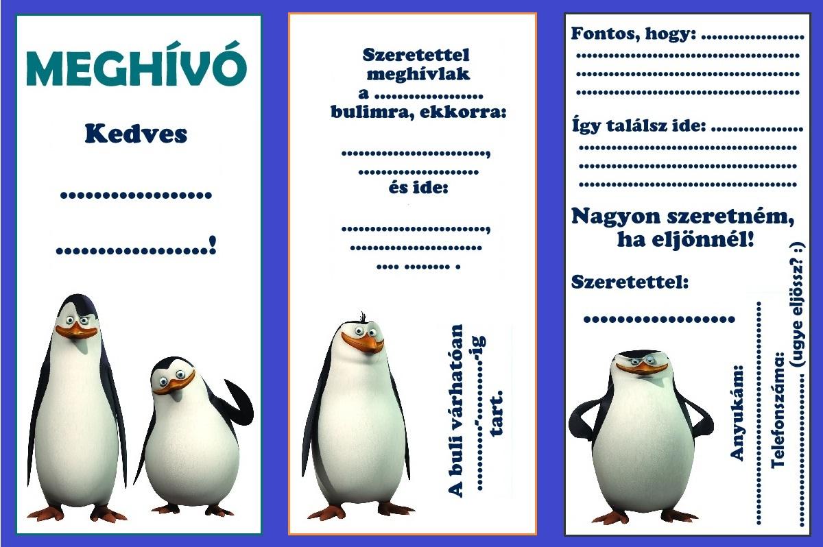 meghívó születésnapi bulira Zsúrda: Pingvines születésnapi buli meghívó meghívó születésnapi bulira