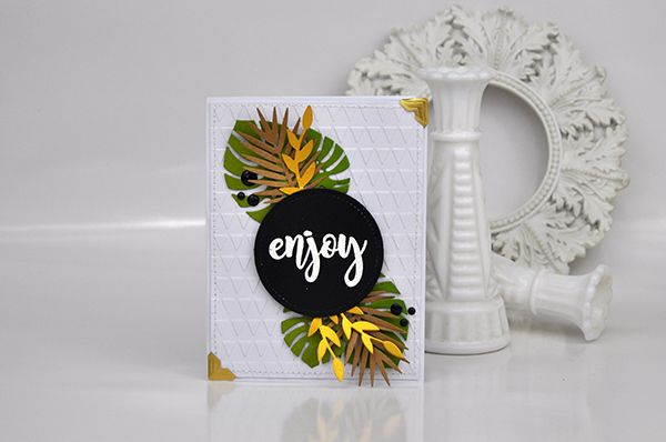"""Enjoy"" Tropical Card by Jen Gallacher from www.jengallacher.com. #jengallacher #diecutting #stamping #echoparkpaper #jenscards"