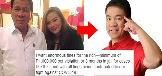 Manila Bulletin writer pushes for P1M fines for rich people per violation of home quarantine protocol, money is used to fight covid-19 | P