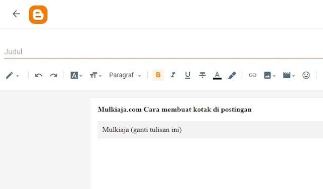 Cara buat postingan baru di blogger, cara buat kotak script di blogger