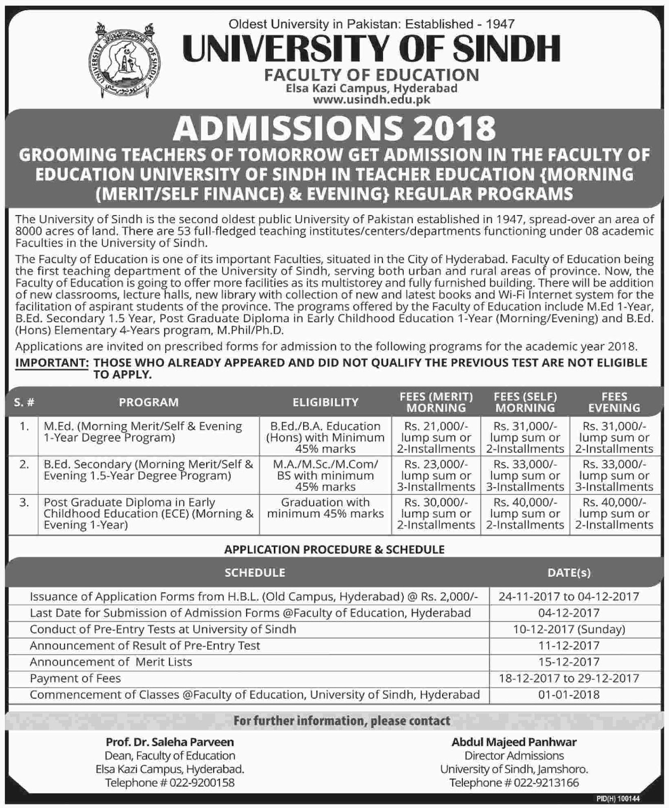 Admissions Open in University of Sindh - Elsa Kazi Campus Hyderabad