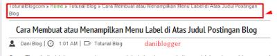 Cara Membuat atau Menampilkan Menu Label di Atas Judul Postingan Blog