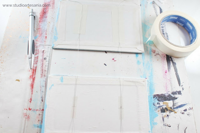 DIY Ombre texturized triptych painting