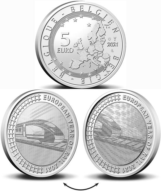 Belgium 5 euro 2021 - European Year of Rail 2021