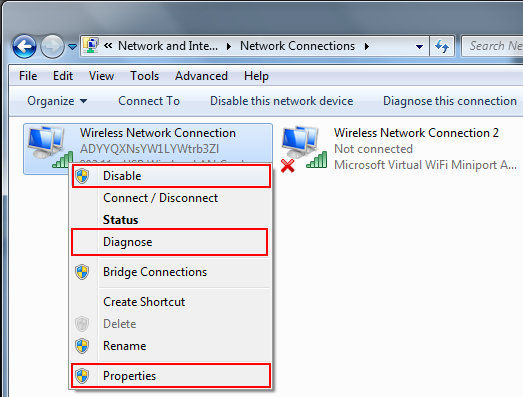Disable Enable Diagnose the network adapter