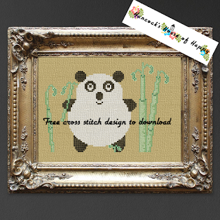 free kawaii panda cross stitch pattern to download for free
