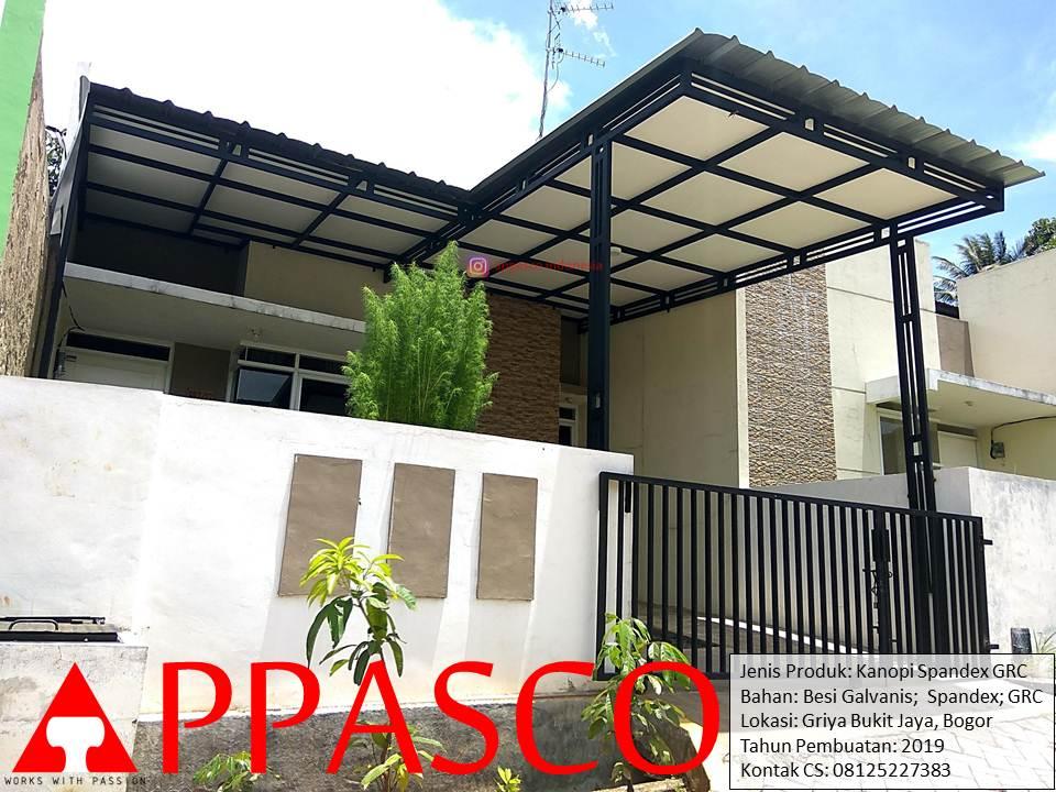 Kanopi Minimalis Atap Spandek Tiang Besi Hollow Galvalum dengan Plafon GRC di Griya Bukit Jaya Bogor