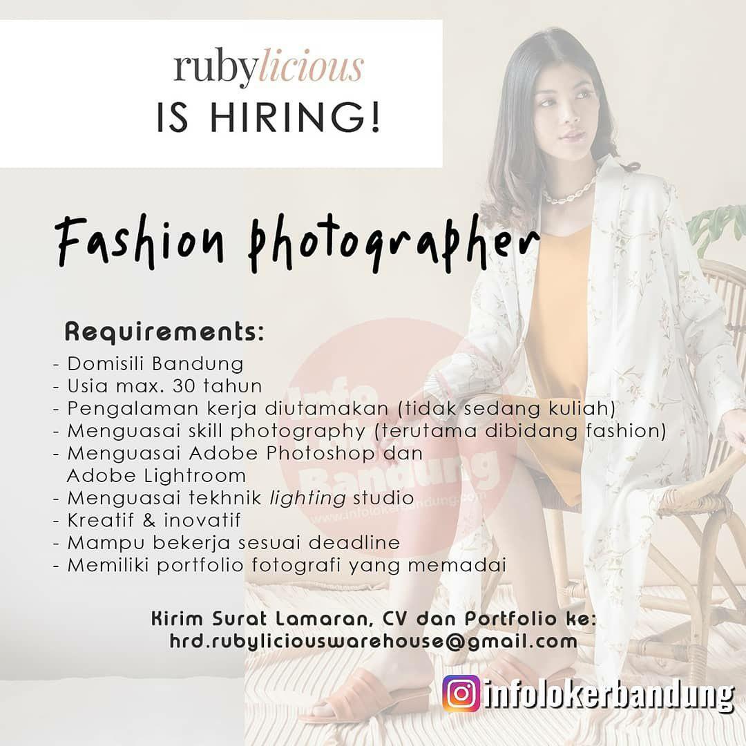 Lowongan Kerja Fashion Photographer Rubylicious Bandung Januari 2020