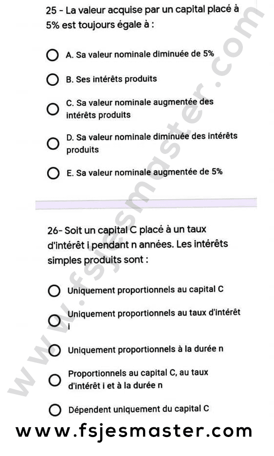 Exemple Concours Master Finance Islamique 2020-2021 - Fsjes Agdal