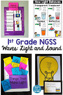 First Grade Waves: Light and Sound Unit covering NGSS standards 1-PS4-1, 1-PS4-2, 1-PS4-3, and 1-PS4-4. Vocabulary, activities, and more to help you teach these standards. Learn about sound as vibrations, light as illumination, how light behaves, and communicating with light and sound.