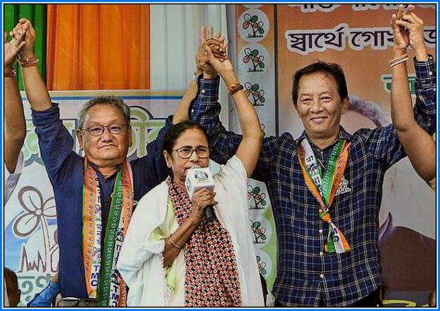 Mamata Banerjee with LS candidate Amarsingh Rai and Assembly bypoll Binay Tamang