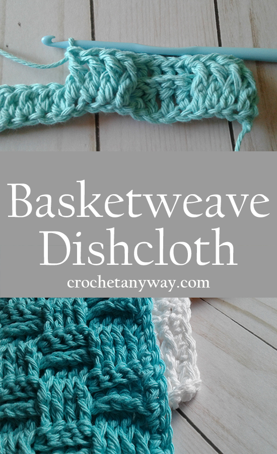 green and white basketweave dishcloth