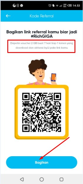 Bagikan Keteman kartu by.u telkomsel