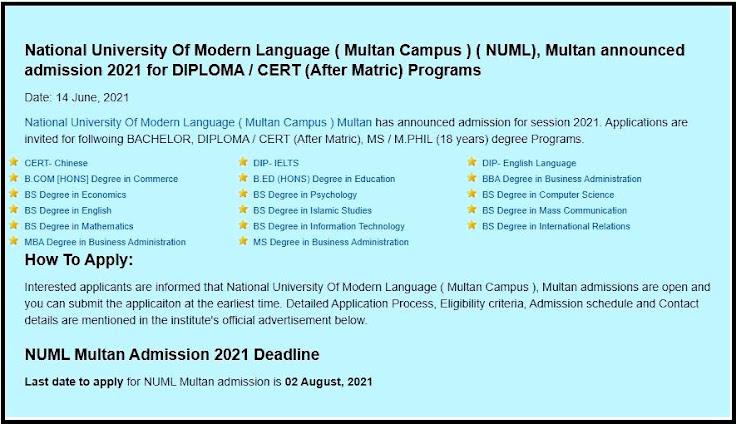 National University Of Modern Language NUML Fall Admission Announced 2021