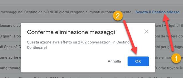 svuotare il cestino di Gmail