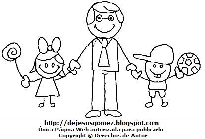 Hijos de la mano de su padre para colorear pintar. Dibujo de hijos de Jesus Gómez