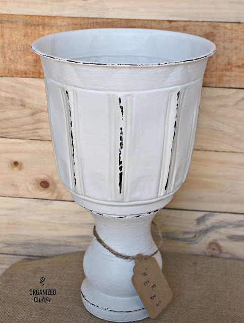 Photo of repurposed urn from thrift shop finds