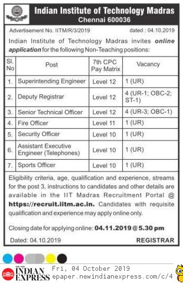 IITM Chennai Non-Teaching Recruitment 2019