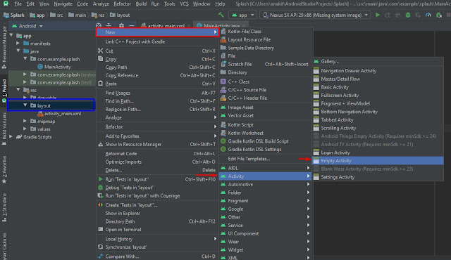 cara manambahkan splash screen di project android studio